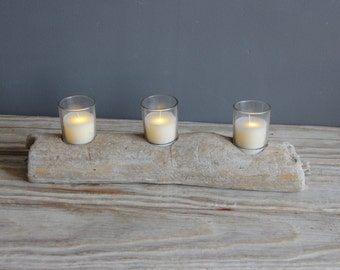 Driftwood Slab Tea Light Candle Holder w/ 3 Flameless Flickering Votive Candles