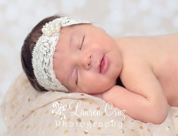 WIDE LACE HEADBAND with pearl rhinestone decoration for baby to adults