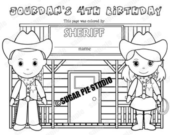 personalized printable sheriff cowboy cowgirl birthday party favor childrens kids coloring page activity pdf or jpeg file - Cowboy Cowgirl Coloring Pages