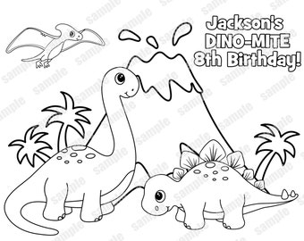 Personalized Printable Dinosaur Dino Mite T Rex Birthday Party Favor Childrens Kids Coloring