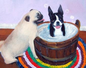 "Pug / Boston Terrier Art Print of an original oil painting / ""The Groomer"" / 8 x 10 / Dog Art"