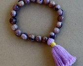 Rainforest  Born Mala Bracelet - Mauve - Sustainable Acai Seeds -  yoga, yogi, namaste, mala, om