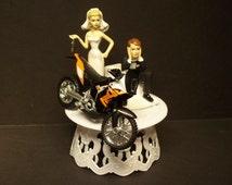 Motorcycle Dirt Bike Bride and Groom W/Die Cast Orange 450 Rally Bike Funny Bike Wedding Cake Topper