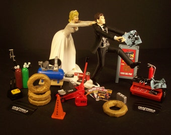 New Auto Mechanic Bride And Groom Wedding Cake Topper Tools