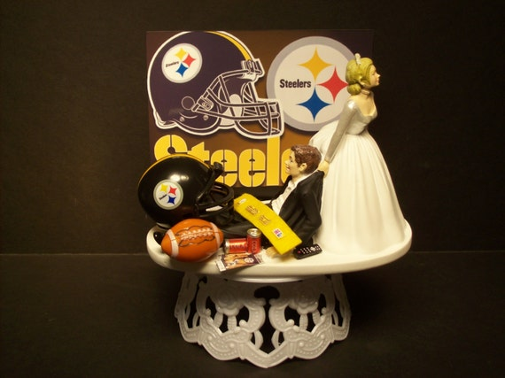 nfl wedding cake toppers football steelers or your team and groom wedding 17840