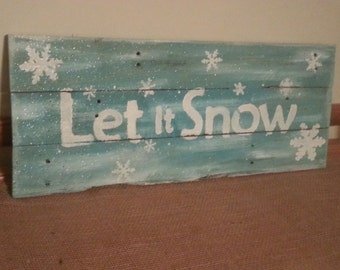 Snow hand painted pallet art