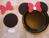 Minnie Mouse DIY Craft Birthday Plate Black Circle Red Bows Shapes Die Cuts DIY Kids Birthday Party Cricut Circle Shapes