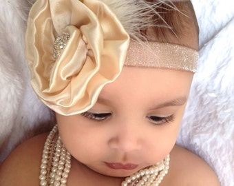 Baby Girl  Gold champagne satin rosette glitter elastic  headband, Baby Headbands.Girl Headbands.