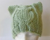 Cable Knit Chunky Beanie in Sage Green, Light Mint