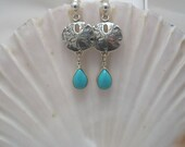 Turquoise and Sterling Silver Sand Dollar Earrings
