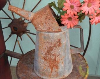 Rusty Oil Can Planter Flowerpot Garden Decor 126