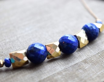Lapis Lazuli and Gold Pyrite Statement Necklace