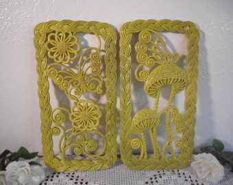 Yellow Wall Hanging Plaque Set Butterfly Flower Mushroom Pair Retro Cottage Country Farmhouse Home Decor Up Cycled Vintage Sunny Kitchen