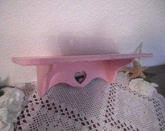 Pink Heart Shabby Chic Shelf Romantic Cottage French Country Farmhouse Paris Apartment Baby Girl Nursery Southern Country Kitchen Home Decor
