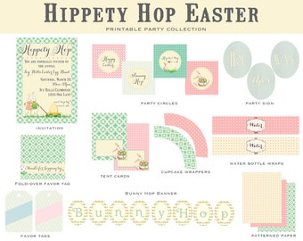 Hippety Hop EASTER Collection, PRINTABLE DIY, Easter Invitation and Party Decorations- As seen on Amy Atlas Events