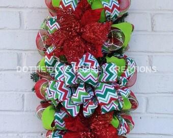 Lime Green & Red Poinsettia Chevron Mesh Christmas Door/Wall Swag Wreath