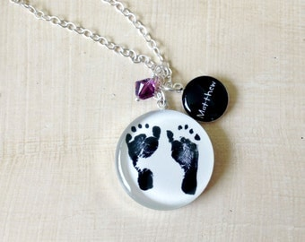 Baby Footprint Necklace- Mother's Necklace - Custom Handwriting Jewelry - Mother's Day - Infant Loss - Baby Footprints - New Mom - Memorial