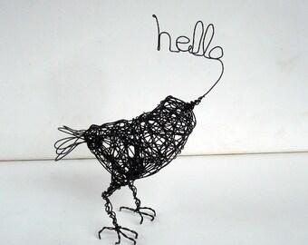 HELLO AGAIN - Original Handmade Wire Bird Sculpture