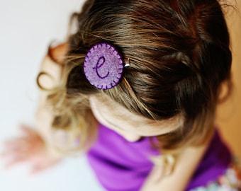 Girls Monogram Hair Clip, Girls Personalized Hair Clip, Girls Felt Hair Accessory, Toddler Hair clips, Pink, Purple, Teal, Turquoise, Aqua