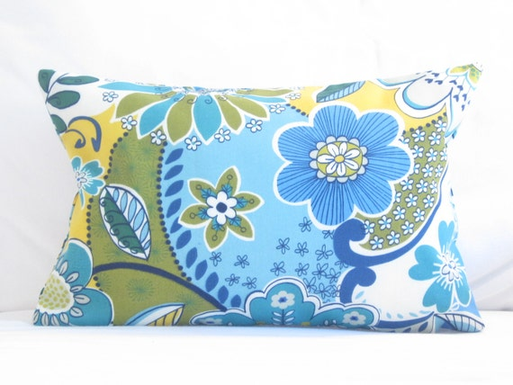 Indoor OUTDOOR Lumbar Throw Pillow Floral Lumbar Pillow