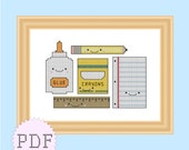 INSTANT DOWNLOAD Counted cross stitch pattern PDF kawaii school supplies