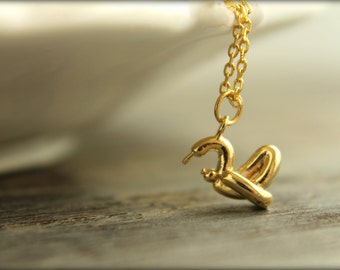 Tiny Balloon Animal Swan Necklace, Available in Silver, Gold, and Rose Gold