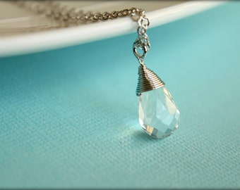 Wire Wrapped Crystal Briolette Necklace, Available in Silver and Gold