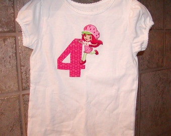 Girls Applique top...Strawberry Shortcake ...0-24 months and 2T to 10 Girls