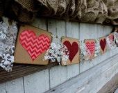 Valentine Banner, Valentine Decor, Valentine Banner Photo Prop, Mantle Decor, Chevron Hearts, Red Glitter Heart Valentine, Be My Valentine,