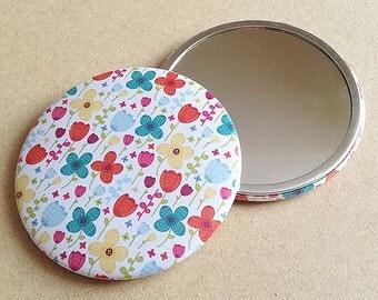 Floral Burst 76mm Pocket Mirror