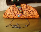 Halloween Clutch--Orange and Black Placemat Bag