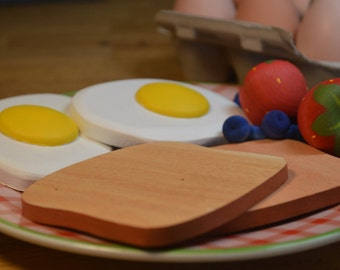 Eggs and Toast For Two Pretend Food Wood Breakfast
