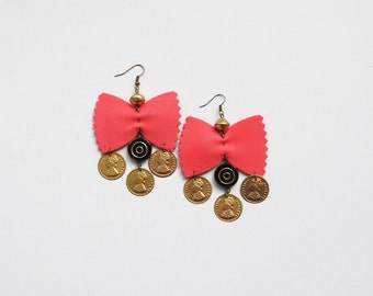 Red earrings, farfalle earrings, gipsy earrings, red gold and black earrings, statement earrings, bow earrings, chic earrings, gift for her