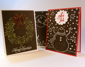 Christmas Cards, set of 6, chalkboard effect, dimensional, embossed, distressed, hand stamped, holiday cards, snowman, santa, wreath
