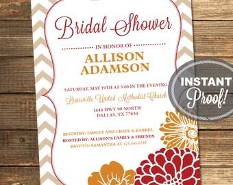 Bridal Shower Invitation, Wedding Shower, Chevron, Floral, Orange, Red, Fall, Tan, Vertical, Printable (Custom Order, INSTANT DOWNLOAD)