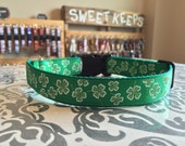 St Patrick's Day Shamrocks Adjustable Dog Collar