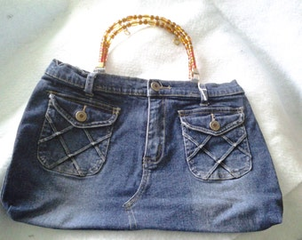 Recycled  Blue Jeans Purse with beaded handle