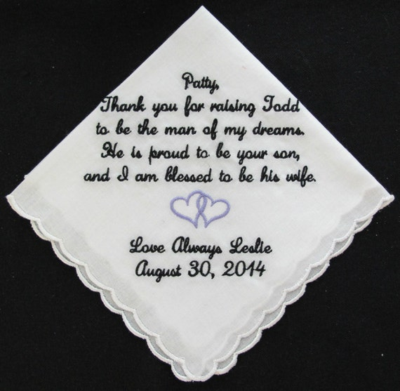 Embroidered Scalloped Wedding Handkerchief for Mother of the Groom