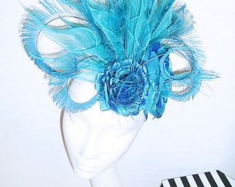 Turquoise Blue Fascinator with Silk Roses and Silk Organza Lillies
