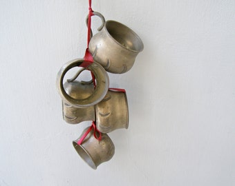 Cup Holders Mobile, Antique Brass Mobile Wall Bells Red Ribbon, Christmas Tree Bells Jungalow Decor Upcycled Cup Holders Doorbell Wind Chime