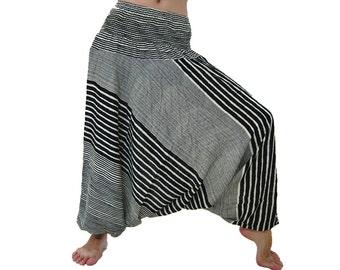 Pants PCR275 Black Jumpsuit 2in1 Casual Rayon Harem Yoga Genie Aladdin Ladies Woman Men