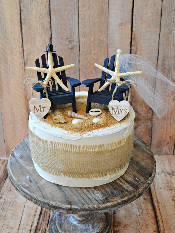 Navy Blue Nautical Beach Themed Wedding Cake By
