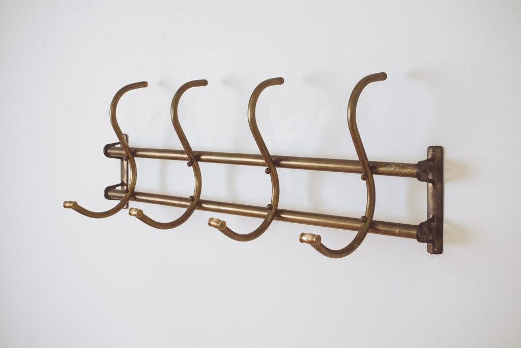 Vintage Brass Wall Mount Coat Rack