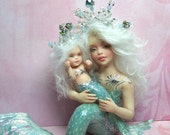 OOAK art doll mother baby mermaid  fantasy polymer clay sculpture fairy  IADR  free shipping