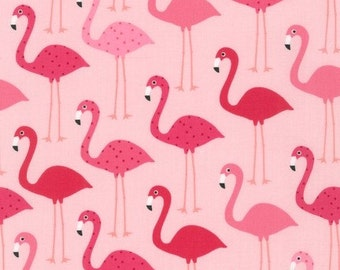 Flamingos on Pink From Robert Kaufman's Urban Zoologie Collection by Ann Kelle