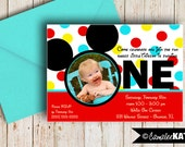 Mickey Mouse 1st or 2nd Birthday Invitation - Personalized Printable 5x7 file - Red, Aqua, Black, & Yellow
