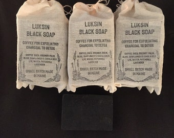 luksin black soap with coffee patchouli and lavender