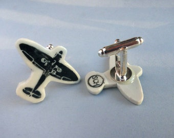 Spitfire Porcelain Cuff Links, Silver Plated Backing
