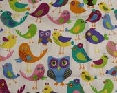 Birds and Owls- Whimsical and Colorful birds and owls - 1 piece 18x44