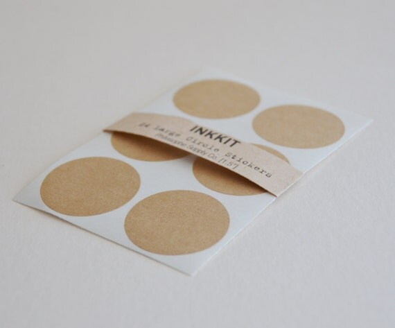 brown kraft large circle stickers (24 stickers)